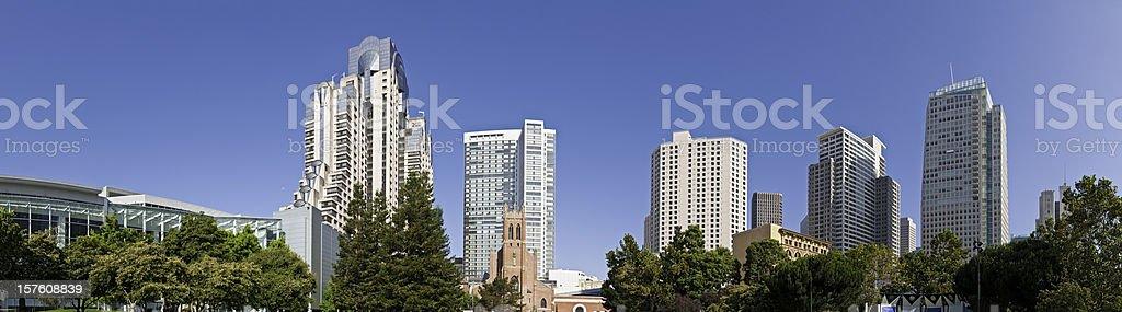 San Francisco Financial District downtown skyscrapers Yerba Buena panorama California stock photo