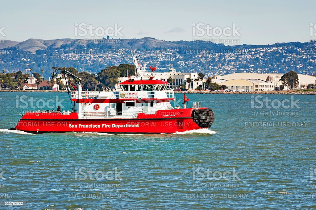 San Francisco fire boat in the Bay stock photo