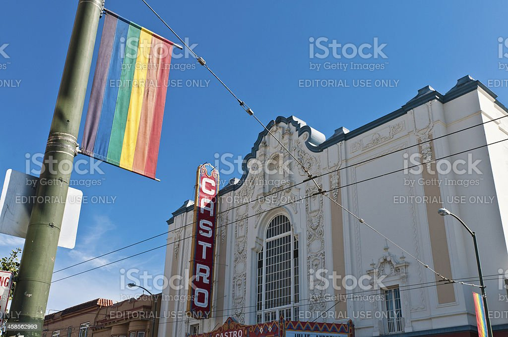 San Francisco Gay Pride flag Castro Theater royalty-free stock photo