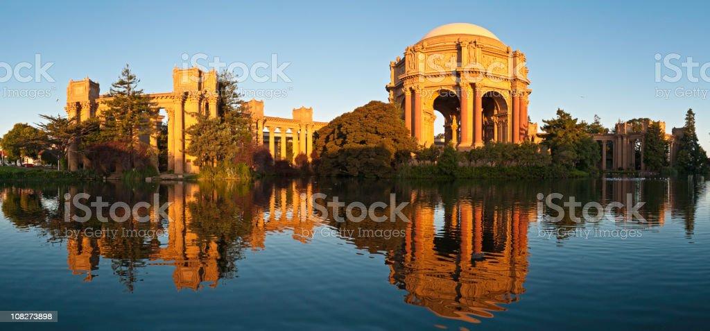 San Francisco golden dawn Palace of Fine Arts panorama California stock photo