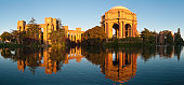 San Francisco golden dawn Palace of Fine Arts panorama California