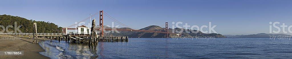 San Francisco Golden Gate Bridge and beach Presidio panorama California stock photo