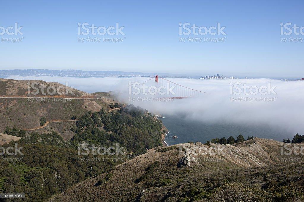 San Francisco Golden Gate Bridge and Marin County Headlands royalty-free stock photo
