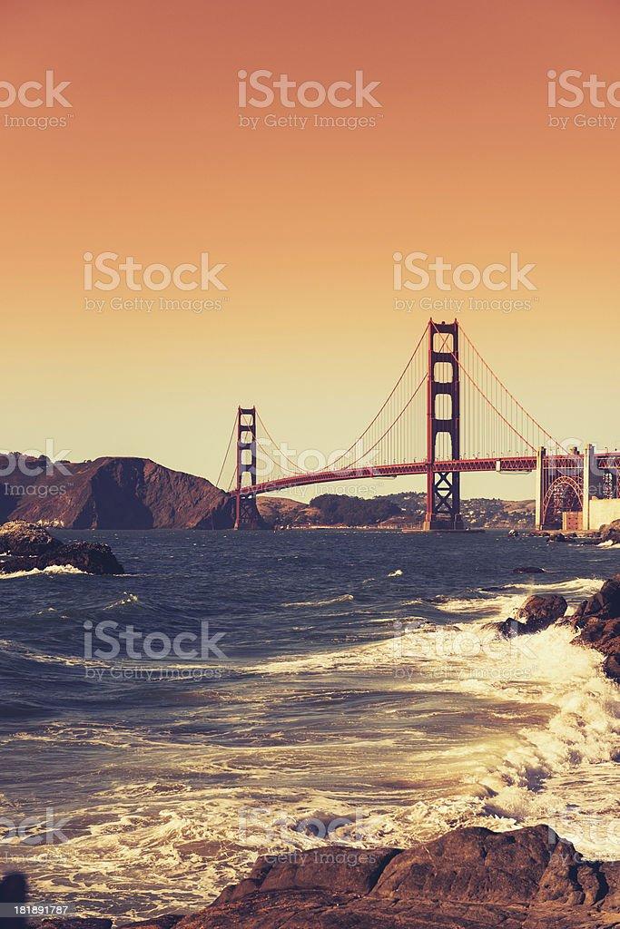 San Francisco golden gate bridge and rocky coast royalty-free stock photo