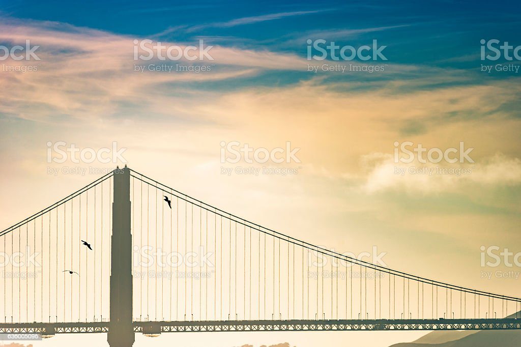 San Francisco Golden Gate Bridge At Sunset stock photo