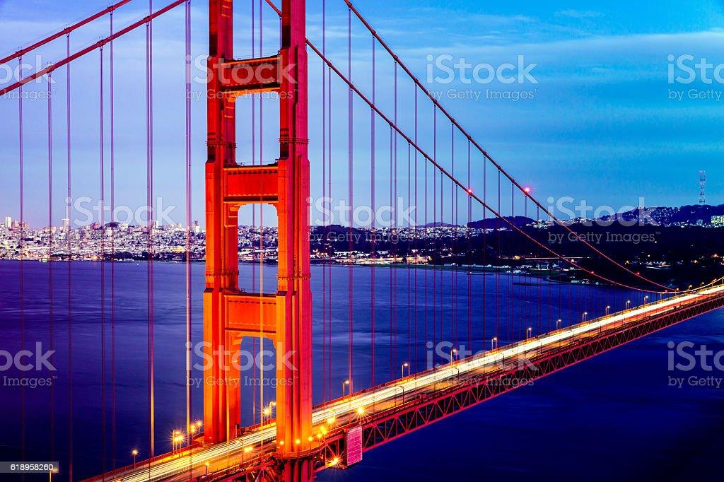 San Francisco Golden Gate Bridge Close Up stock photo