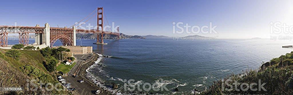 San Francisco Golden Gate Bridge Fort Point bay panorama California stock photo