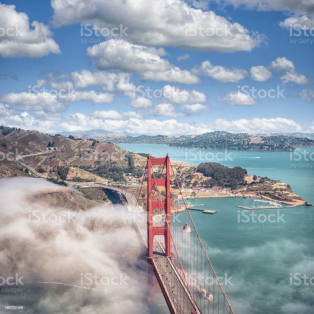 San Francisco Golden Gate Bridge from aircraft royalty-free stock photo
