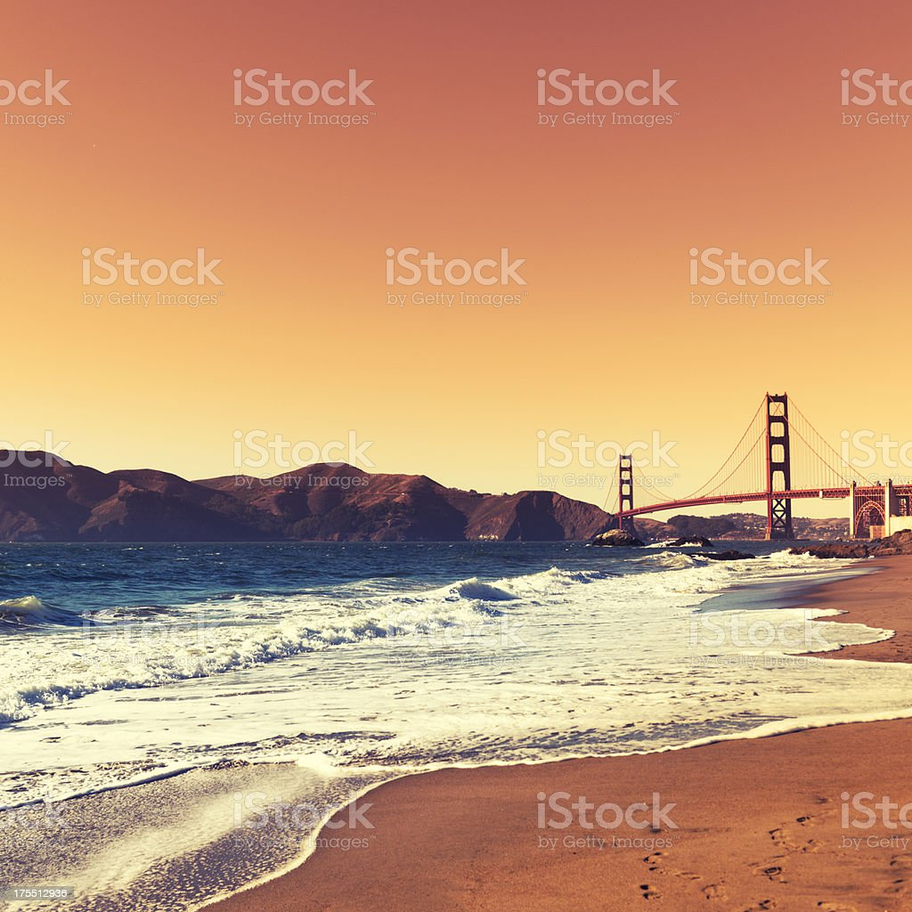 San Francisco golden gate from the beach stock photo