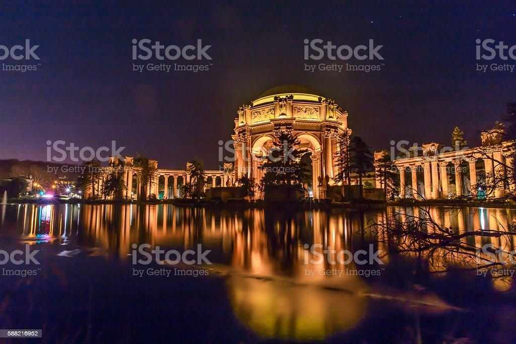 San Francisco golden Palace of Fine Arts long exposure stock photo