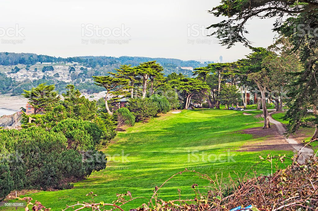San Francisco Golf Course with view of City in Background stock photo