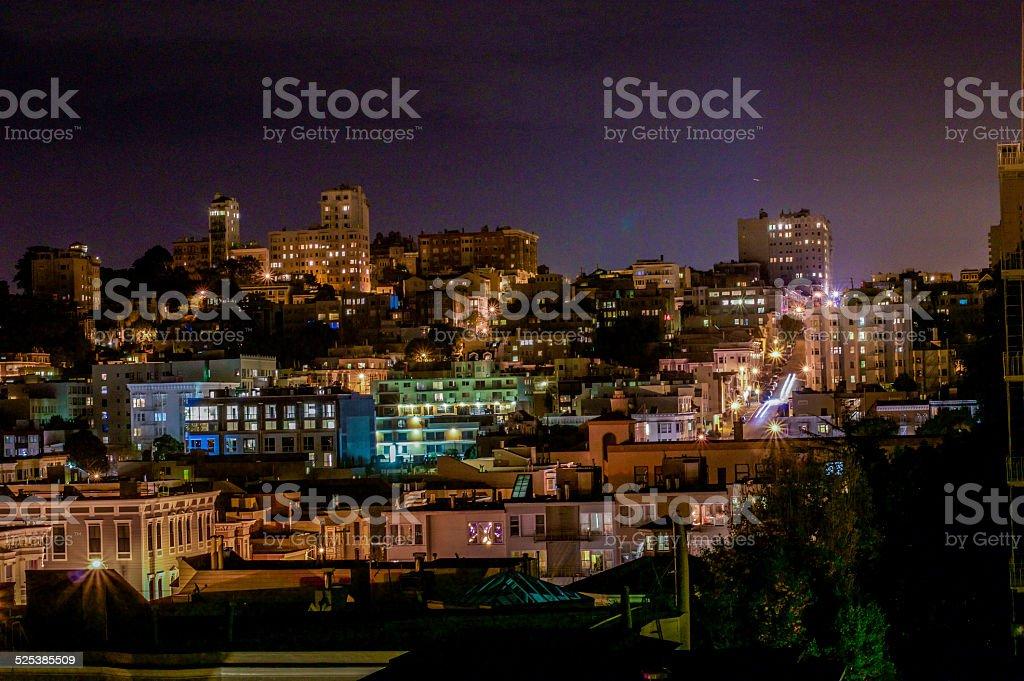 San Francisco Homes at Night stock photo