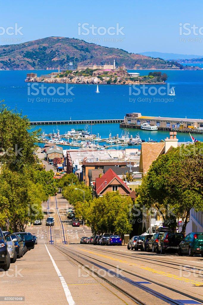 San francisco Hyde Street and Alcatraz island stock photo
