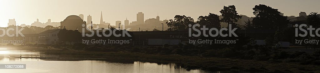 San Francisco landmarks skyline sunrise silhouetted panorama California royalty-free stock photo