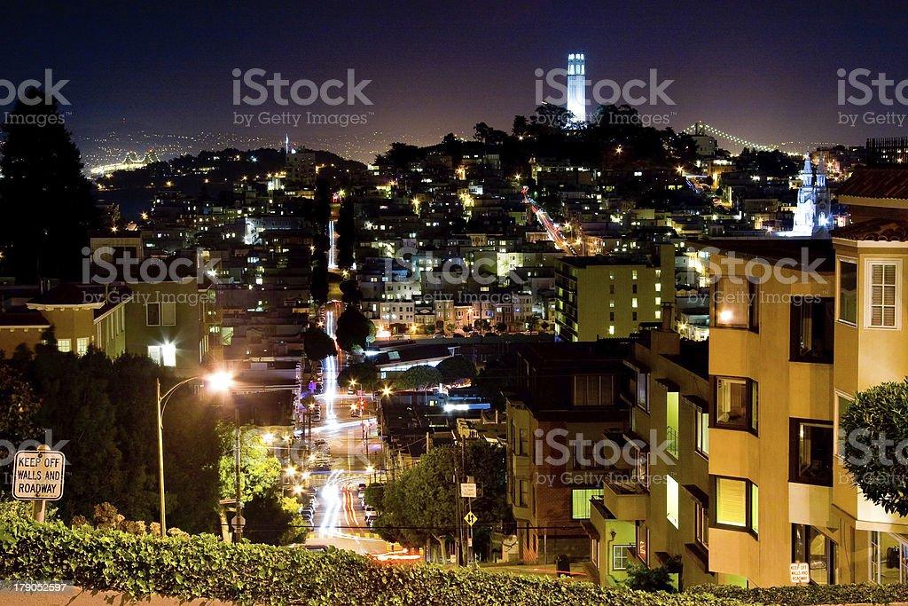 San Francisco night scene stock photo