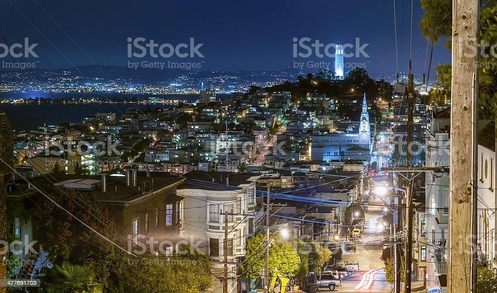 San Francisco night streets illuminated Telegraph Hill Coit Tower California stock photo