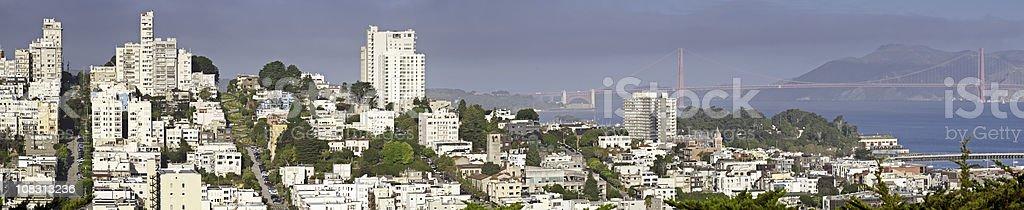 San Francisco North Beach Lombard Street Golden Gate Bridge panorama royalty-free stock photo
