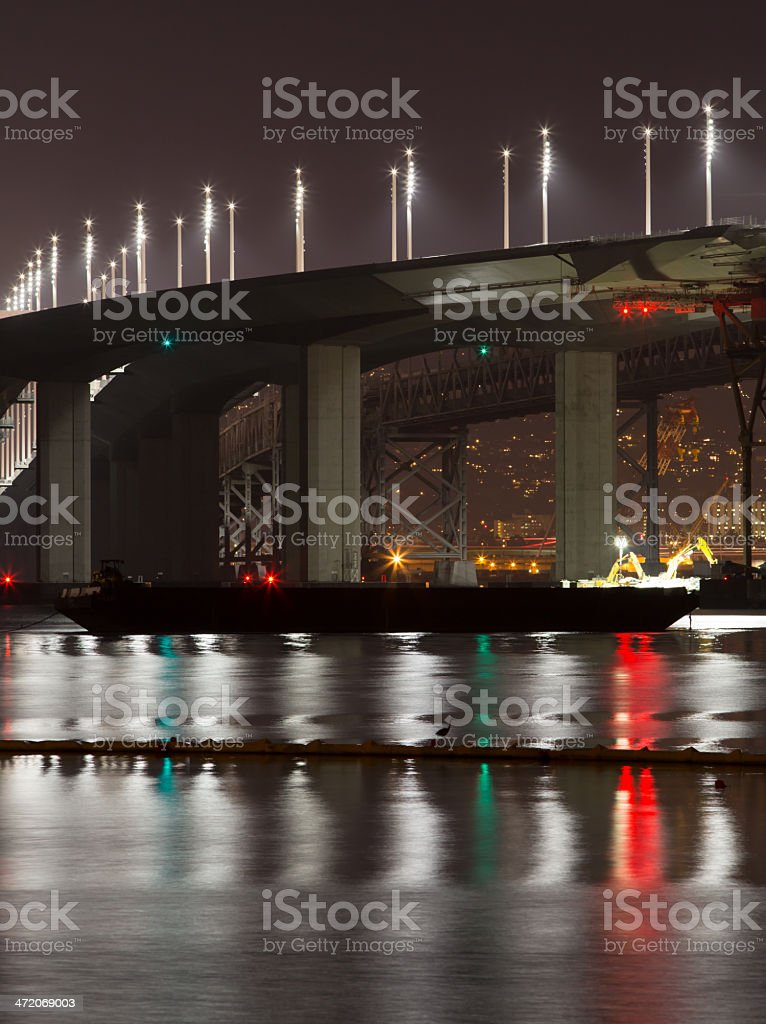 San Francisco Oakland Bay Bridge by night royalty-free stock photo