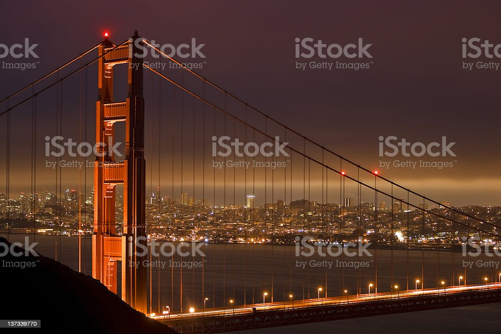 San Francisco over the Golden Gate at Night. royalty-free stock photo