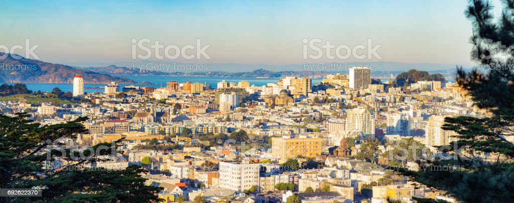 San Francisco Pacific Heights panorama at sunset with Golden Gate bridge stock photo