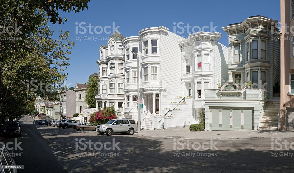 San Francisco Pacific Heights Victorian villas leafy avenues panorama California stock photo