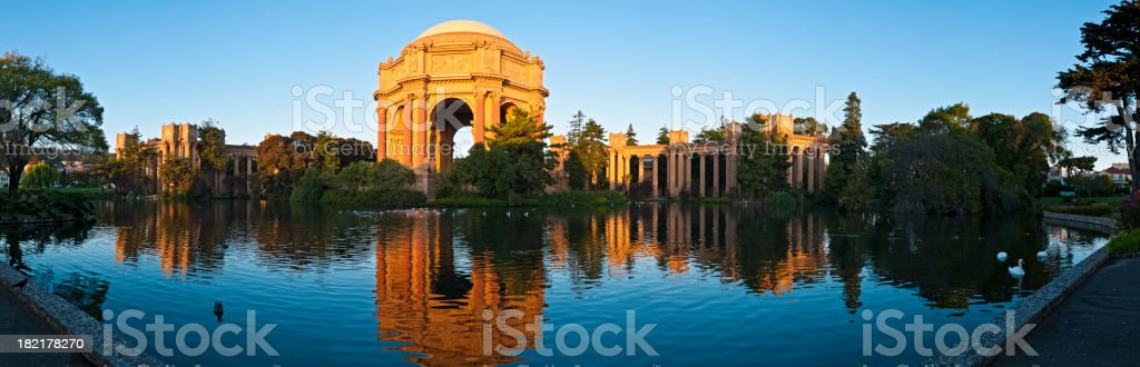 San Francisco Palace of Fine Arts golden dome reflected panorama stock photo
