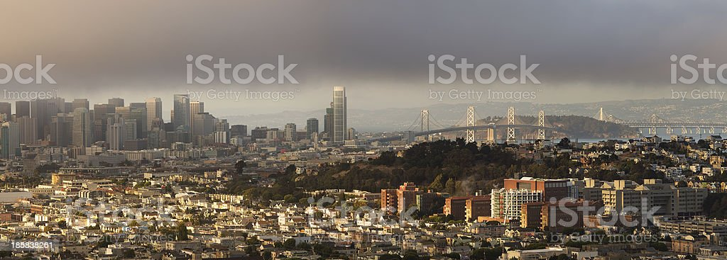 San Francisco Panorama on Foggy Summer Afternoon stock photo