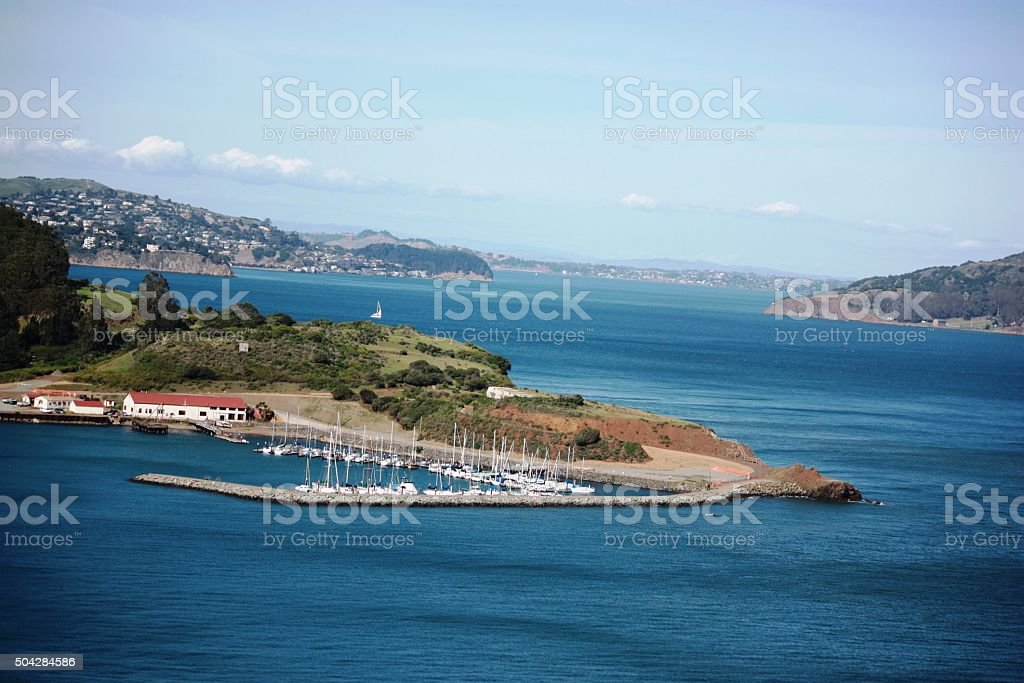 San Francisco Panorama view from the Golden Gate Bridge stock photo