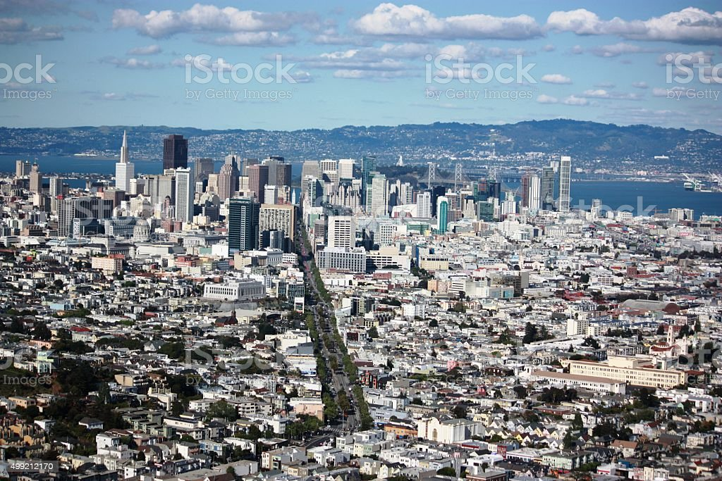 San Francisco Panorama view from the Twin Peaks, California USA stock photo