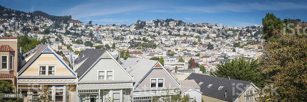 San Francisco picturesque wooden homes suburban housing cityscape panorama California stock photo