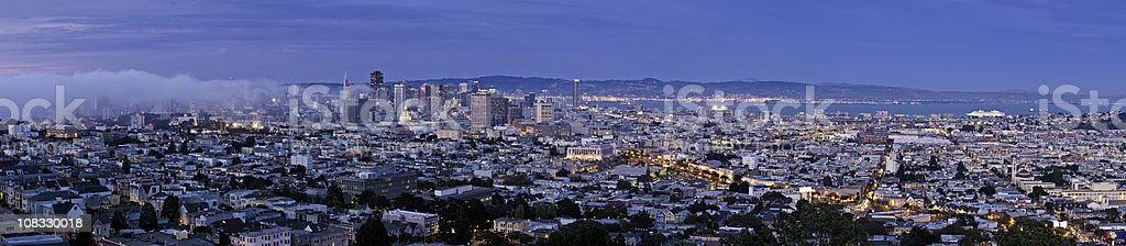 San Francisco pink dusk illuminated downtown skyscrapers Mission District California royalty-free stock photo