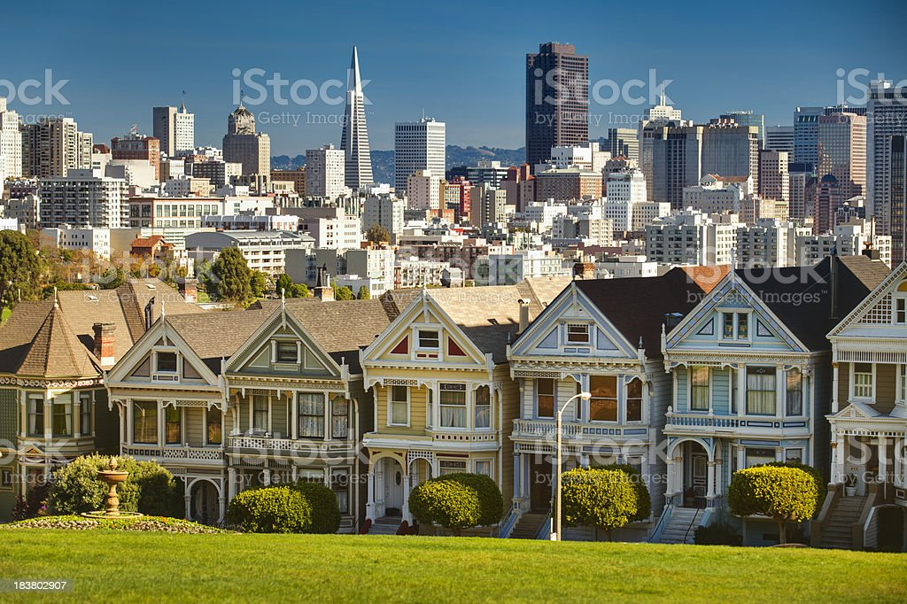 San Francisco postcard row skyline royalty-free stock photo