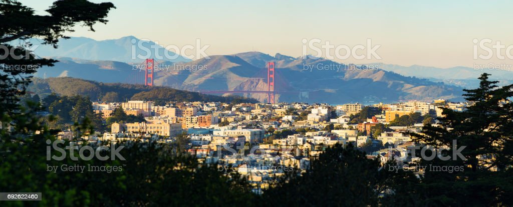 San Francisco Presidio Heights panorama at sunset with Golden Gate bridge stock photo