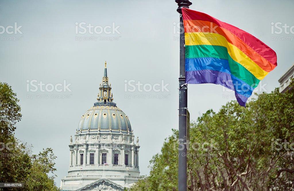 San Francisco Pride: Rainbow Flag and City Hall stock photo