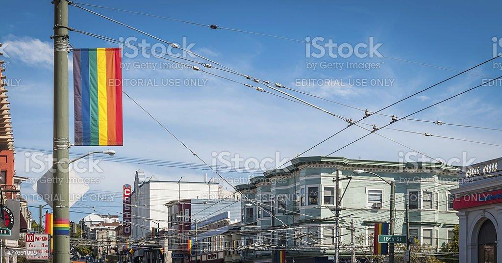San Francisco Rainbow Flag Castro district street scene Californian USA stock photo
