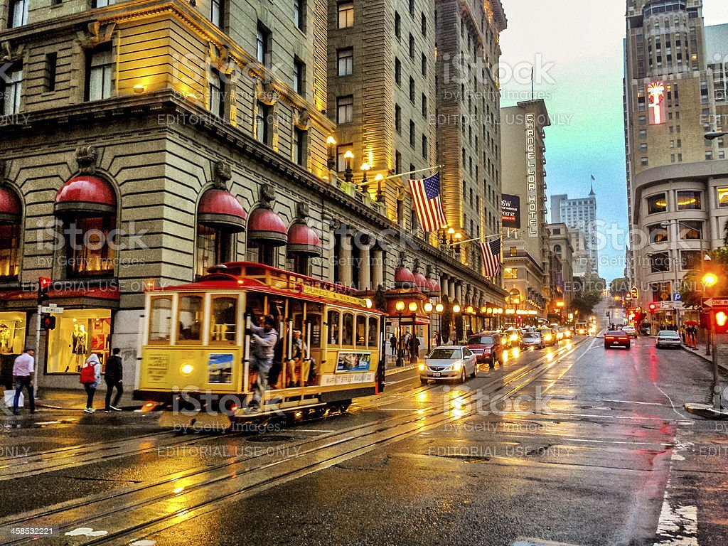 San Francisco Rainy Evening stock photo