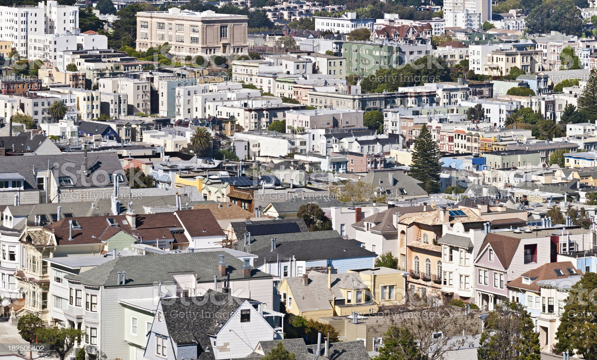 San Francisco rooftop cityscape houses streets crowded urban blocks California royalty-free stock photo