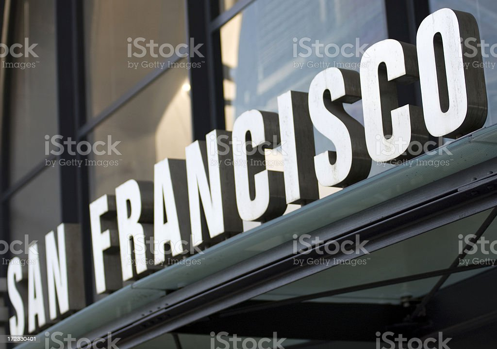 San Francisco sign on the Ferry Building royalty-free stock photo