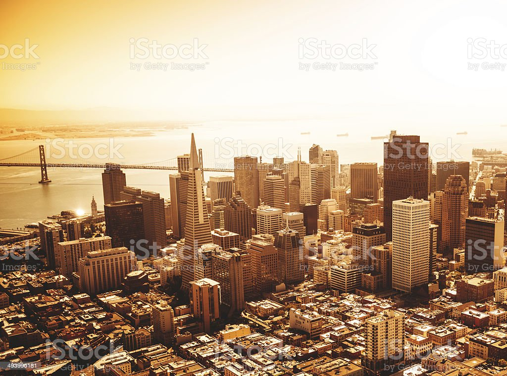 San francisco skyline aerial view at sunrise stock photo
