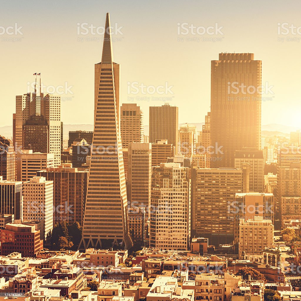 San francisco skyline aerial view at sunset royalty-free stock photo