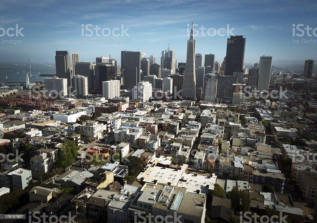 San francisco skyline aerial view stock photo