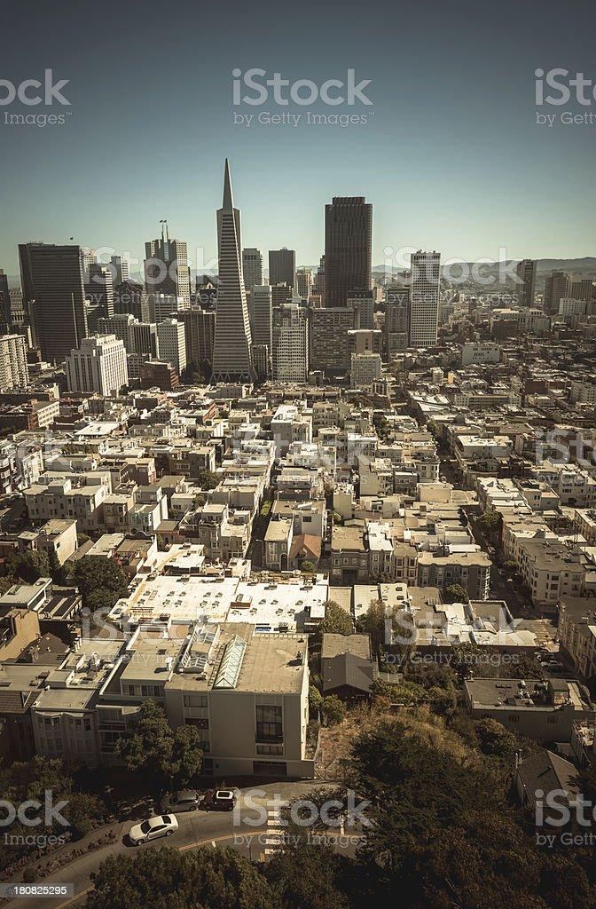 san francisco skyline aerial view royalty-free stock photo
