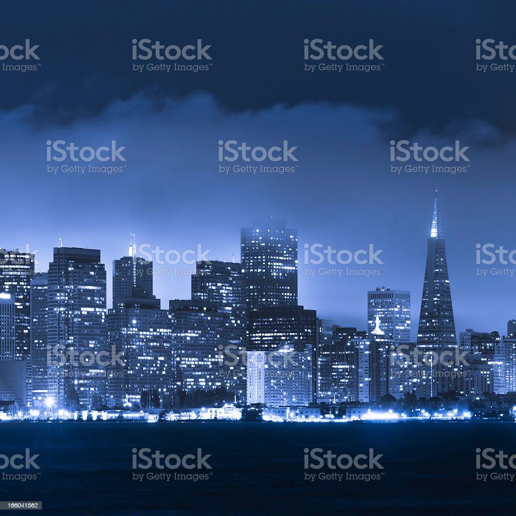 San Francisco skyline and bay at night royalty-free stock photo