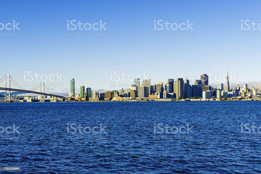 San Francisco skyline and Bay Bridge from Treasure Island royalty-free stock photo
