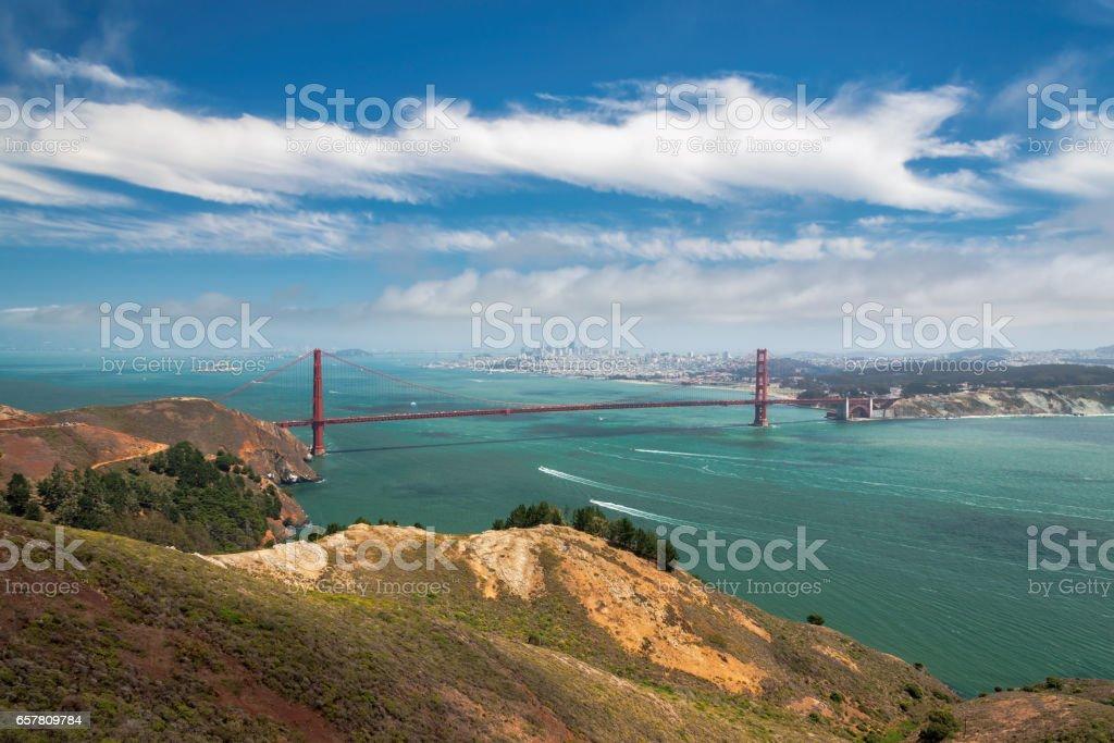 San Francisco skyline and Golden Gate Bridge stock photo
