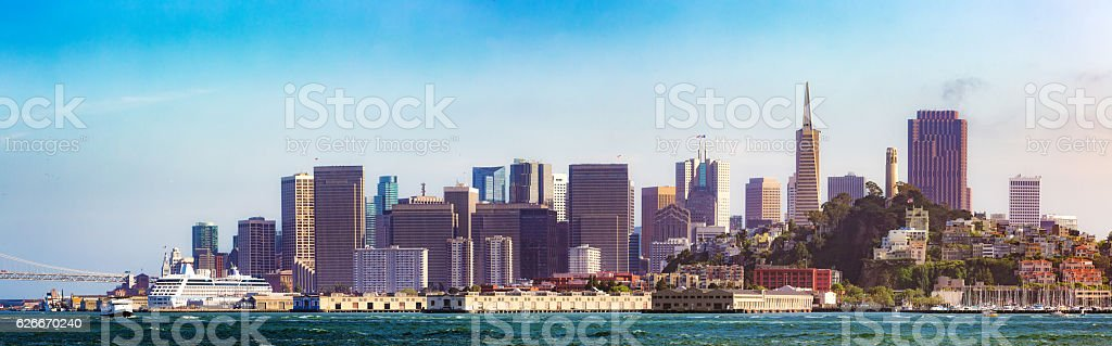 San Francisco skyline and piers panorama from Bay stock photo