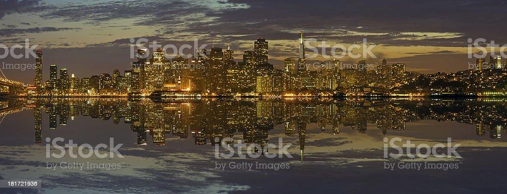 San Francisco Skyline at Sunset Panorama royalty-free stock photo