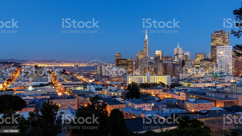 San Francisco skyline at sunset stock photo