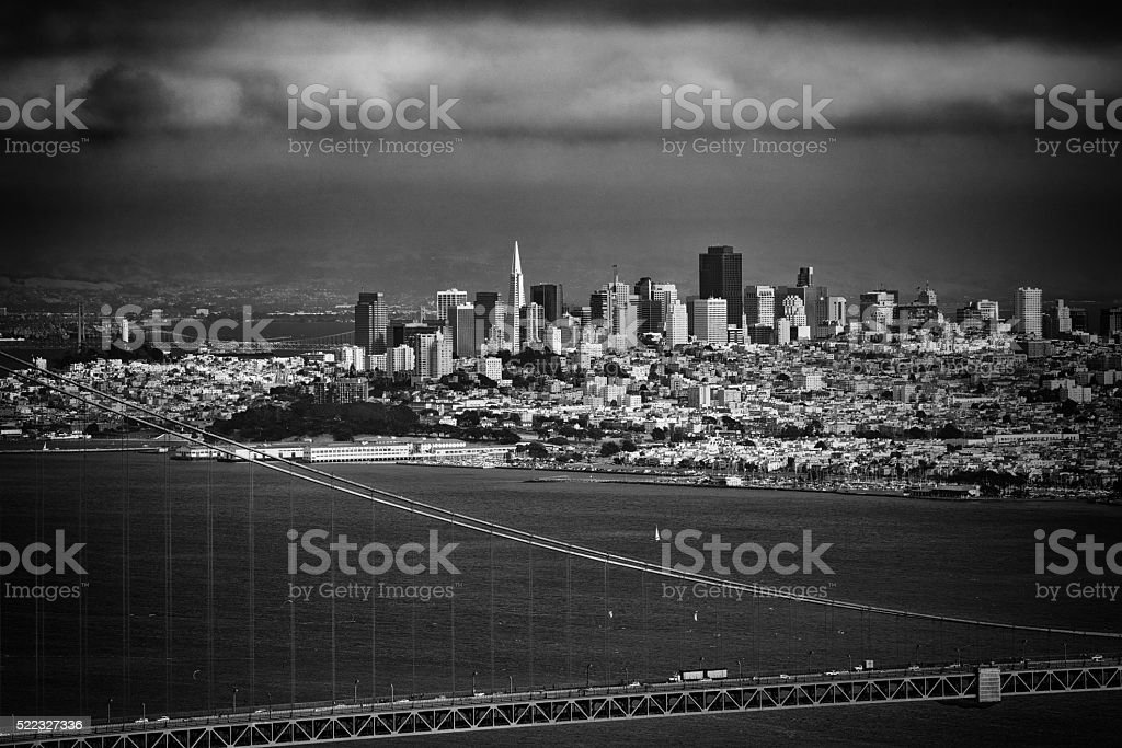 San Francisco Skyline Beyond the Golden Gate stock photo