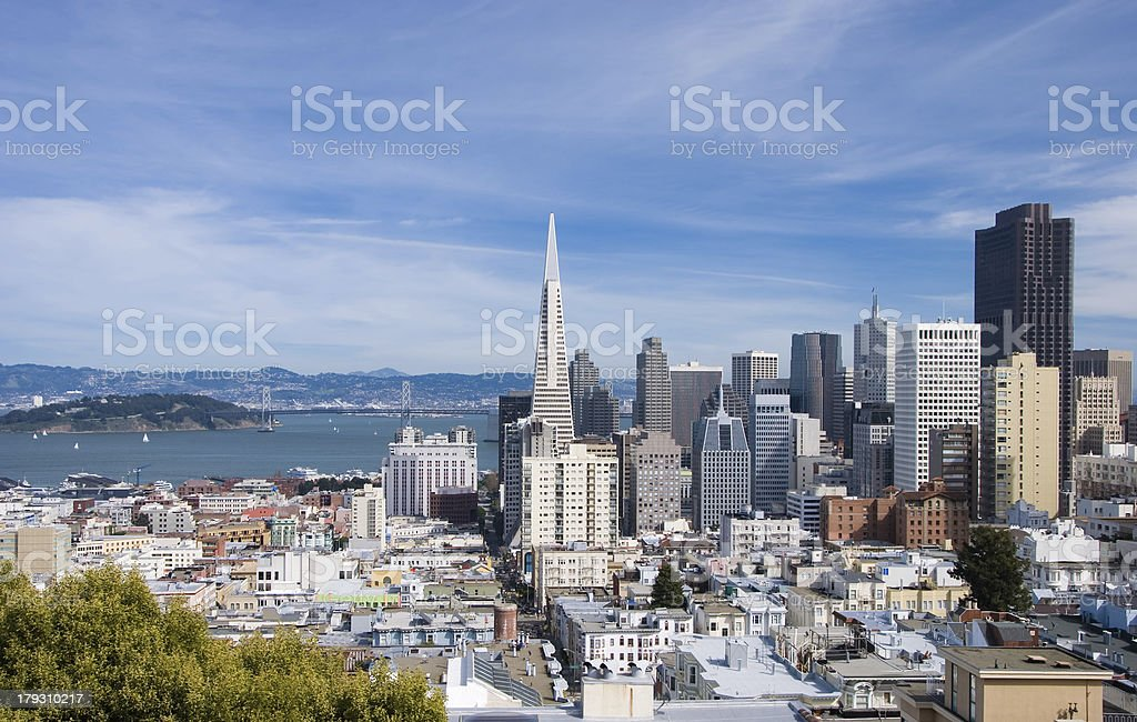 San Francisco skyline by day (wide angle) stock photo